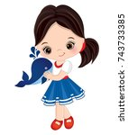 vector cute little girl with... | Shutterstock .eps vector #743733385