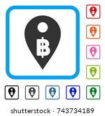 thai baht map marker icon. flat ... | Shutterstock .eps vector #743734189