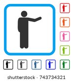 showing man icon. flat grey... | Shutterstock .eps vector #743734321