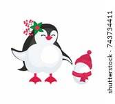 fun image of a penguin in... | Shutterstock .eps vector #743734411