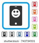 smartphone smiley icon. flat...
