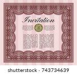 red formal invitation. modern... | Shutterstock .eps vector #743734639