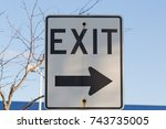 exit sign at border crossing in ...   Shutterstock . vector #743735005