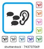 listen gossips icon. flat grey... | Shutterstock .eps vector #743737069