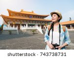 asian young woman visiting the... | Shutterstock . vector #743738731