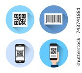 set of icons with bar qr code... | Shutterstock .eps vector #743741881