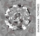 worthy on grey camouflaged... | Shutterstock .eps vector #743744821