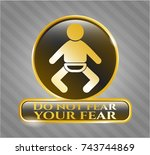 gold shiny badge with baby... | Shutterstock .eps vector #743744869