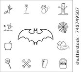 silhouettes of bat icon. set of ... | Shutterstock .eps vector #743749507