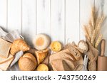 bread and bakery ingredients on ... | Shutterstock . vector #743750269