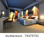 Stock photo rendering of home interior focused on bed room 74375731