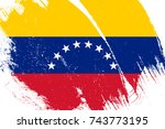 flag of venezuela with grunge... | Shutterstock . vector #743773195