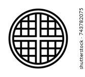 round waffle breakfast vector... | Shutterstock .eps vector #743782075