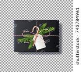 realistic black paper gift box. ... | Shutterstock .eps vector #743784961