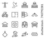 thin line icon set   lighthouse ... | Shutterstock .eps vector #743792281