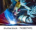 welder  craftsman  erecting... | Shutterstock . vector #743807491