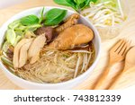 braised chicken soup with... | Shutterstock . vector #743812339