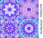 set of abstract decorative... | Shutterstock . vector #743812759