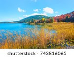 autumn landscape in abant lake  ... | Shutterstock . vector #743816065