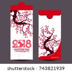 chinese new year red envelope... | Shutterstock .eps vector #743821939