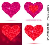 set heart icon of pink crystals.... | Shutterstock .eps vector #743823091