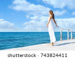 back view of a young woman... | Shutterstock . vector #743824411