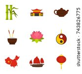 chinese icon set. flat style... | Shutterstock . vector #743826775