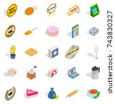 caff icons set. isometric set... | Shutterstock . vector #743830327