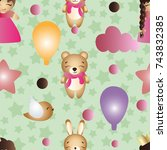 pattern with cartoon cute toy... | Shutterstock .eps vector #743832385