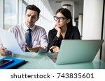 businesswoman and businessman... | Shutterstock . vector #743835601