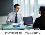 two business partners... | Shutterstock . vector #743835847