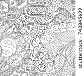tracery seamless pattern.... | Shutterstock .eps vector #743845699