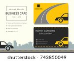 driving school business card or ...   Shutterstock .eps vector #743850049