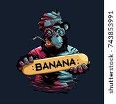 banana skateboard | Shutterstock .eps vector #743853991