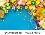 festive decor for birthday  new ...   Shutterstock . vector #743857549