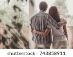 back view of beautiful couple... | Shutterstock . vector #743858911