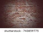 brown brick wall texture grunge ...   Shutterstock . vector #743859775