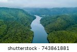 aerial view of river and forest ... | Shutterstock . vector #743861881