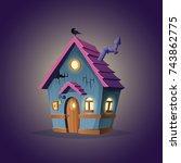 witches hut design. cartoon... | Shutterstock .eps vector #743862775