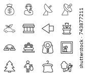 thin line icon set   money bag  ... | Shutterstock .eps vector #743877211