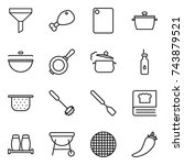 thin line icon set   funnel ... | Shutterstock .eps vector #743879521