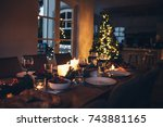 specially decorated christmas...   Shutterstock . vector #743881165