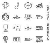 thin line icon set   parachute  ...   Shutterstock .eps vector #743887564