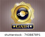 gold shiny badge with planet ...   Shutterstock .eps vector #743887891
