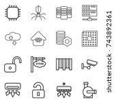 thin line icon set   chip ...   Shutterstock .eps vector #743892361