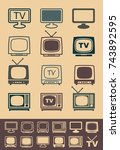 silhouettes of retro and modern ... | Shutterstock .eps vector #743892595