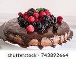 fresh berries and mint leaf on... | Shutterstock . vector #743892664