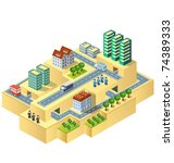 town in isometric view with the ... | Shutterstock .eps vector #74389333