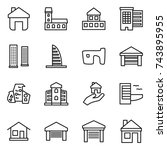 thin line icon set   home ... | Shutterstock .eps vector #743895955