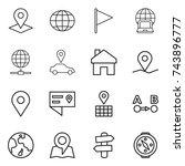 thin line icon set   pointer ... | Shutterstock .eps vector #743896777